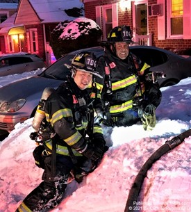 Elmont FD Engine 4  Members at House Fire