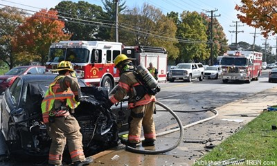 Lunchtime Crash With Fire in Pikesville