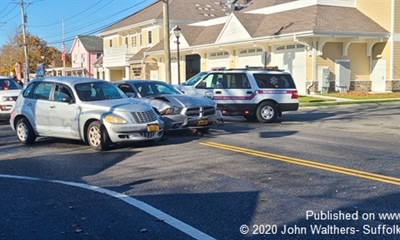 Cars Go Smash in The Morning in Mastic Beach